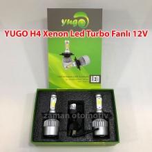 YUGO H4 Xenon Led Turbo 12V Fanlı C.O.B - Şimşek Etkili