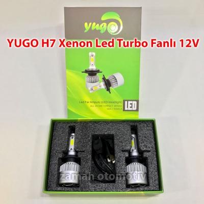 YUGO H7 Xenon Led Turbo 12V Fanlı C.O.B - Şimşek Etkili