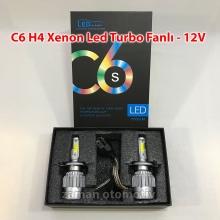 C6 - H4 Xenon Led Turbo 12V Fanlı C.O.B - Şimşek Etkili