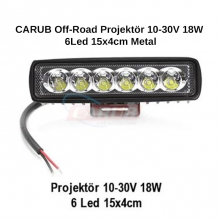 CARUB Off-Road Projektör 10-30V 18W 6Led 15x4cm Metal