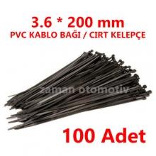 3.6 X 200 mm PVC KABLO BAĞI SİYAH