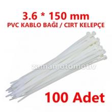 3.6 X 150 mm PVC KABLO BAĞI BEYAZ