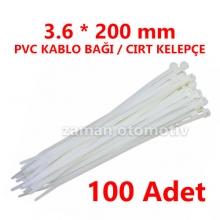 3.6 X 200 mm PVC KABLO BAĞI BEYAZ