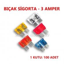 BIÇAK SİGORTA 3 AMP. - 100 ADET