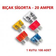 BIÇAK SİGORTA 20 AMP. - 100 ADET