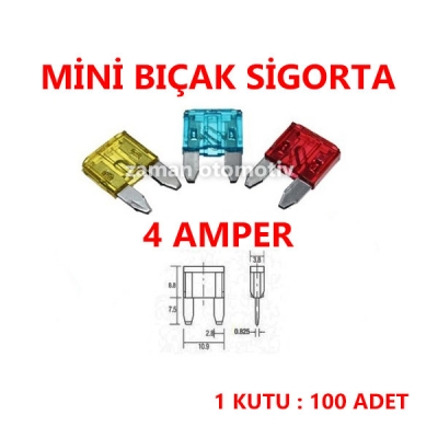 MİNİ BIÇAK SİGORTA 4 AMPER - 100 ADET